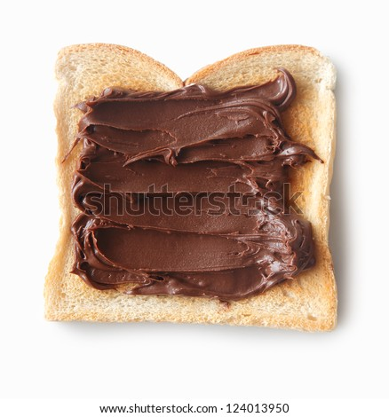 Tasty closeup of a slice of bread with chocolate cream - stock photo