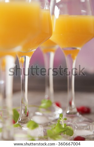 tasty cocktail with juice. a party at the bar on a gray background