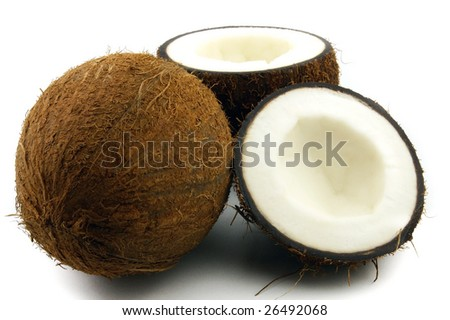 Tasty coconut on a white background