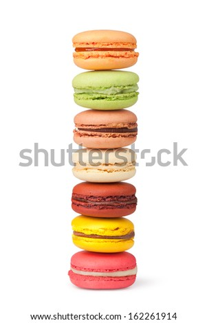 Tasty colorful macaroon on a white background - stock photo