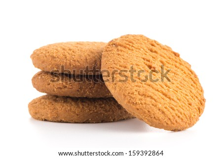 Tasty cookies isolated on a white background. - stock photo