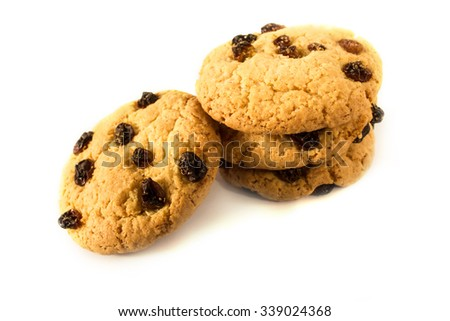 Tasty cookies isolated on white background, close-up. - stock photo