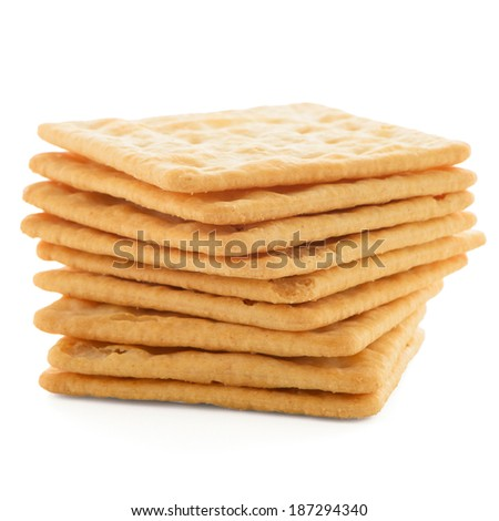 Tasty cracker biscuit isolated on white background