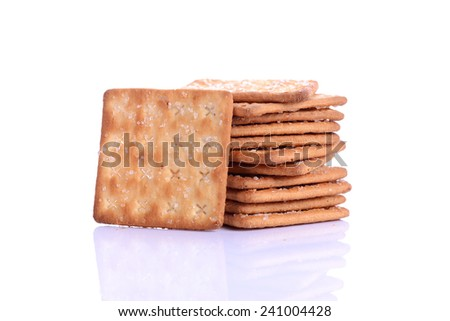 Tasty cracker sugar biscuit isolated on white background. - stock photo