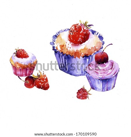 Tasty cup cakes illustration - stock photo