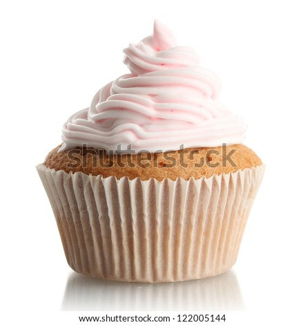 tasty cupcake, isolated on white - stock photo