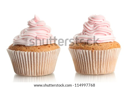 tasty cupcakes, isolated on white - stock photo