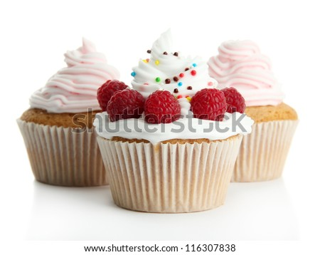 tasty cupcakes with berries, isolated on white - stock photo
