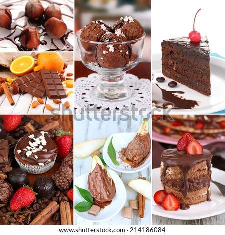 Tasty dessert collage - stock photo