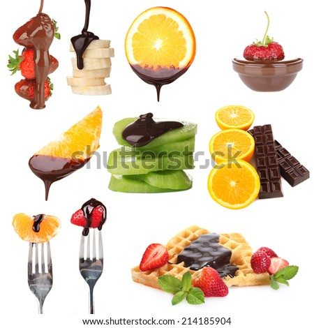 Tasty dessert collage - fruits with chocolate isolated on white - stock photo
