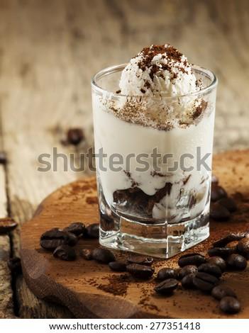 Tasty dessert with ice cream, chocolate and coffee, selective focus - stock photo