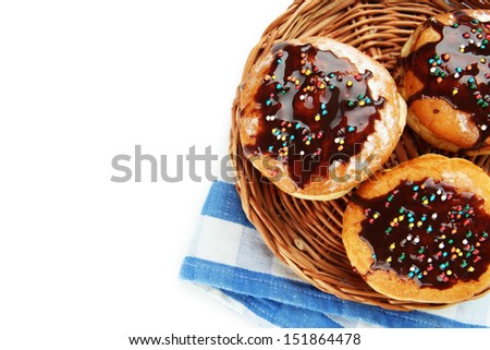Tasty donuts with chocolate, isolated on white