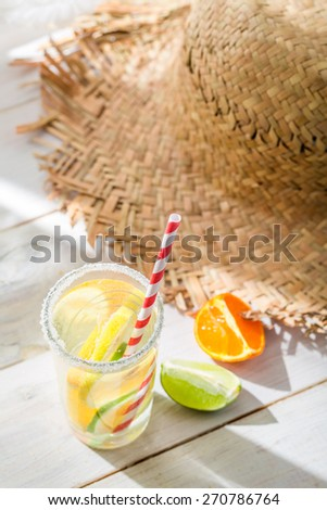 Tasty drink with lemon and orange