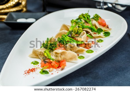 Tasty Dumplings with broccoli and vegetables  - stock photo