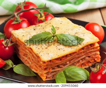 Tasty flavorful lasagna on a plate and ingredients  - stock photo