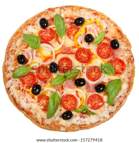 Tasty, flavorful pizza isolated on white background - stock photo