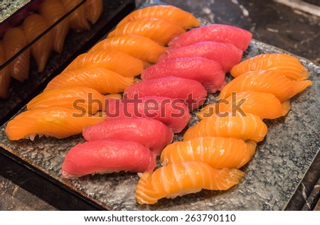 Tasty, fresh and healthy sushi - stock photo