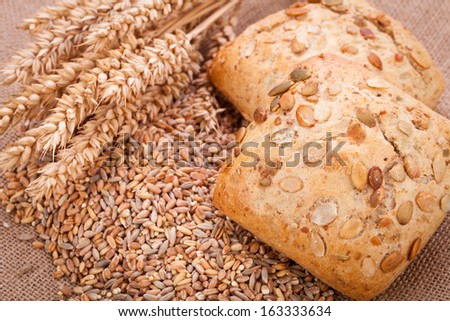 tasty fresh baked bread bun baguette natural food detal background