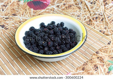 Tasty fresh blackberries in a white bowl on the table - stock photo