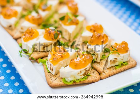Tasty fresh colorful goat chees appetizer with cloudberry jam and thyme greens - stock photo