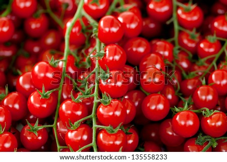 tasty fresh red tomatoes on market outdoor in summer