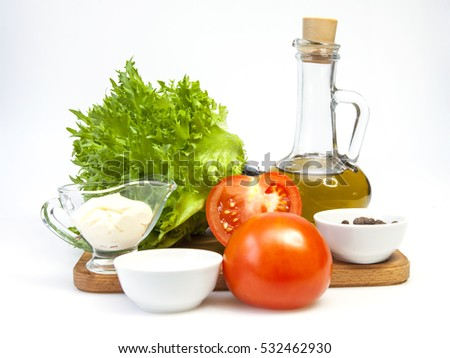 Tasty fresh vegetables for cooking of salad