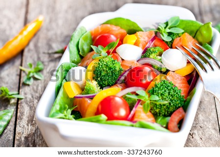 Tasty  fried and grilled salmon slices on mixed colorful vegetables and mozzarella  - stock photo