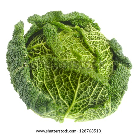 Tasty green Chinese cabbage isolated on white. - stock photo