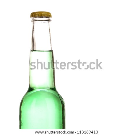 Tasty green drink in bottle isolated on white