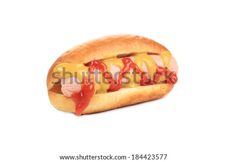 Tasty grilled hotdog with mustard. Isolated on a white background.
