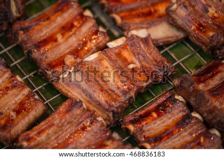 Tasty grilled ribs.