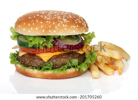Tasty hamburger and french fries isolated on white - stock photo