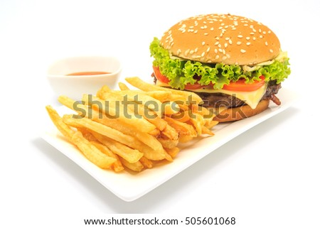 tasty hamburger, French fries and chili sauce on white plate, Fast food with copy space