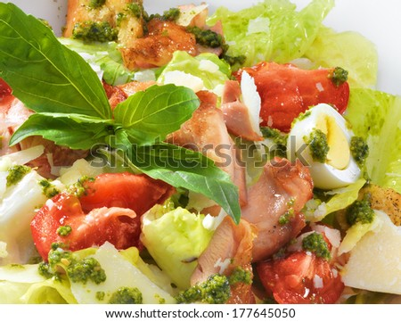 Tasty healthy Caesar salad with sweet basil and lettuce