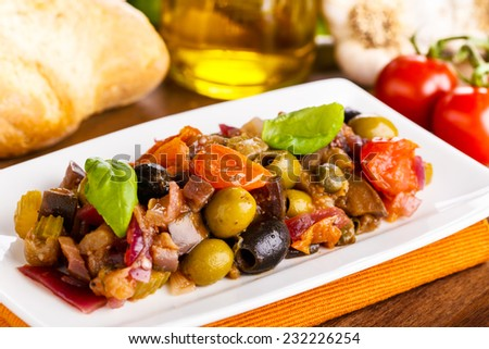tasty homemade caponata - mixed sweet and sour vegetables