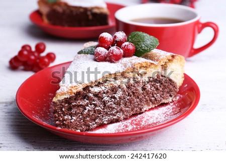 Tasty homemade pie on table - stock photo