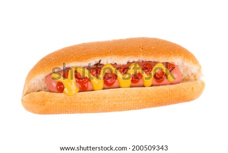 Tasty hot dog with mustard and ketchup. Isolated on a white background.