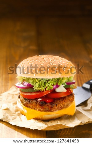 Tasty hot hamburger with onion, meat, tomatoes and salad