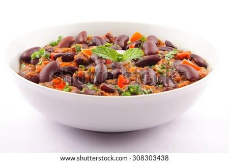 Tasty Indian Rajma  masala in white bowl. - stock photo
