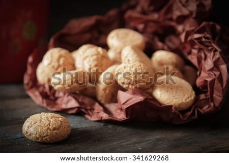 Tasty Italian amaretti cookies - stock photo