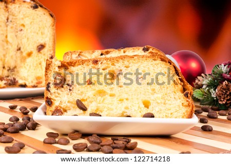 Tasty Italian panettone served on the table - stock photo
