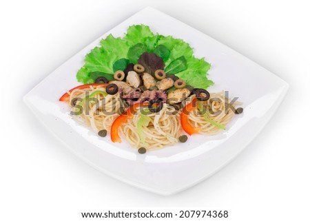 Tasty italian pasta with seafood. Isolated on a white background.