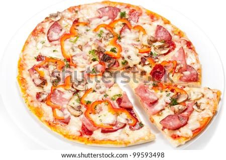 Tasty Italian Pepperoni pizza. Isolated on white - stock photo