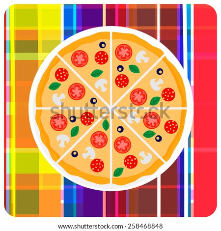Tasty italian pizza with tomato, sausage or salami, olive and mushrooms on the plaid. Clip art illustration. Design element. - stock photo
