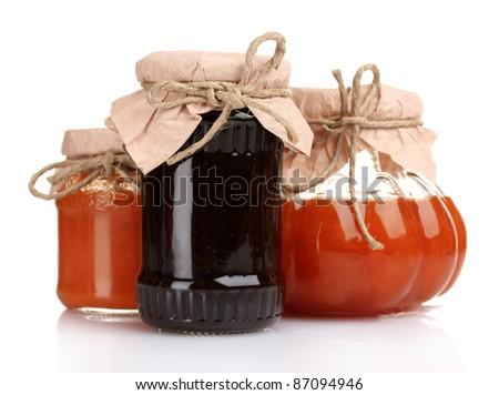 tasty jam isolated on white - stock photo