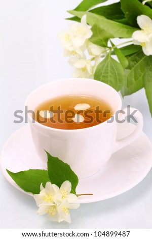Tasty jasmine tea and beautiful flowers