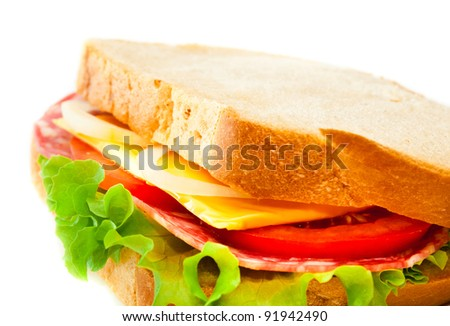 tasty juicy sandwich on a white background