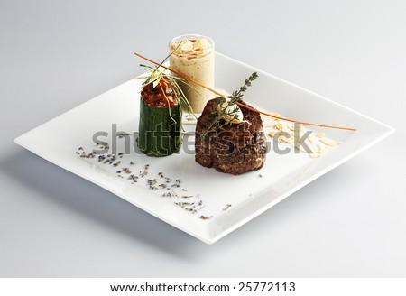 tasty lamb steak at five star restaurant. - stock photo