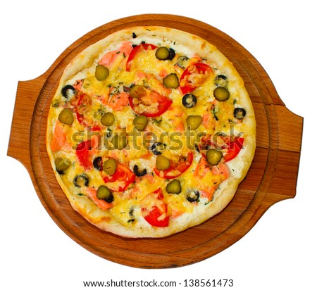 tasty large pizza cucumber on white background (clipping path)