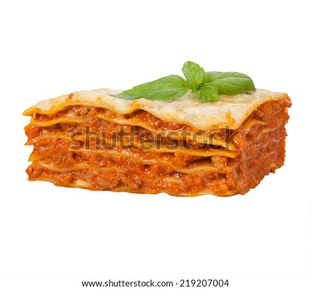 Tasty lasagna isolated on white background  - stock photo